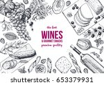 wines and gourmet snacks frame... | Shutterstock .eps vector #653379931