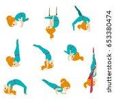 cute girl practicing fitness...   Shutterstock .eps vector #653380474