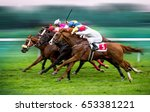 race horses with jockeys on the ... | Shutterstock . vector #653381221