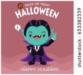 vintage halloween poster design ... | Shutterstock .eps vector #653382559