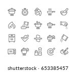 simple set of cooking related... | Shutterstock .eps vector #653385457