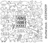 farm life doodle icons hand made   Shutterstock .eps vector #653390059