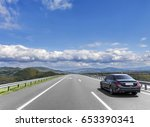 car is driving on the high... | Shutterstock . vector #653390341