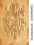 alphabet set gothic font in... | Shutterstock .eps vector #653390401