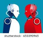 robot vs robot. concept... | Shutterstock .eps vector #653390965