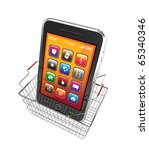 Smart phone and shopping basket - 3d render - stock photo