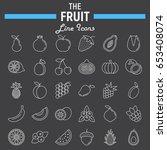 fruit line icon set  food...   Shutterstock .eps vector #653408074