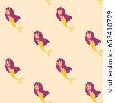 mermaid girls seamless pattern. ... | Shutterstock .eps vector #653410729