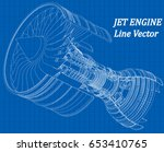 jet engine isometrics on blue... | Shutterstock .eps vector #653410765