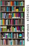 many books on the bookshelf ...   Shutterstock .eps vector #653413021