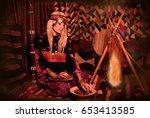 bedouin woman in traditional... | Shutterstock . vector #653413585