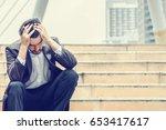 unemployed businessman stress... | Shutterstock . vector #653417617