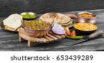indian cuisine sev tamatar also ... | Shutterstock . vector #653439289