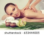 massage and body  care. spa... | Shutterstock . vector #653444005