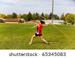 a young  female athlete... | Shutterstock . vector #65345083