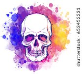 watercolor sketchy skull with... | Shutterstock .eps vector #653452231