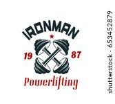 powerlifting or bodybuilding... | Shutterstock .eps vector #653452879