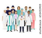 doctors  nurses and paramedics... | Shutterstock .eps vector #653453905
