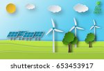 paper art of a solar and wind... | Shutterstock .eps vector #653453917