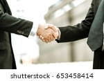 business partnership meeting... | Shutterstock . vector #653458414