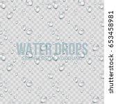 water drops transparent...   Shutterstock .eps vector #653458981