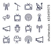 broadcast icons set. set of 16... | Shutterstock .eps vector #653459575