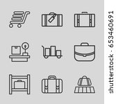 baggage icons set. set of 9... | Shutterstock .eps vector #653460691