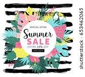 tropical summer banner design.... | Shutterstock .eps vector #653462065