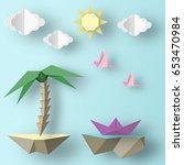 cut birds  ship  palm tree ... | Shutterstock .eps vector #653470984