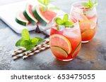 summer refreshing cocktails... | Shutterstock . vector #653475055