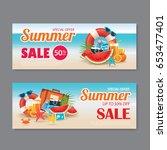 summer sale voucher background... | Shutterstock .eps vector #653477401