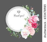 gray stylish floral vector... | Shutterstock .eps vector #653478985