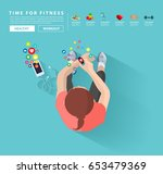 smart watch and smart phone ... | Shutterstock .eps vector #653479369