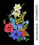 embroidery vintage flowers... | Shutterstock .eps vector #653480551