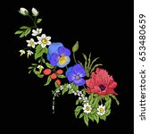 embroidery vintage flowers... | Shutterstock .eps vector #653480659