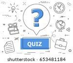 quiz thin line concept. vector... | Shutterstock .eps vector #653481184