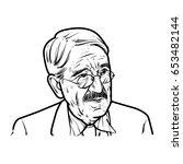 john dewey hand drawing outline ... | Shutterstock .eps vector #653482144