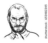 steve jobs hand drawing outline ... | Shutterstock .eps vector #653482345