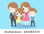 cute cartoon family smile... | Shutterstock . vector #653483725