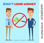 red no circle over man lending... | Shutterstock .eps vector #653485399