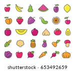 simple stylized icons on... | Shutterstock .eps vector #653492659