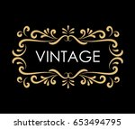 vintage hand drawn frame label... | Shutterstock .eps vector #653494795