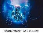 alien inside a tube for... | Shutterstock . vector #653513329