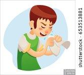 vector   sick man. unhappy... | Shutterstock .eps vector #653513881