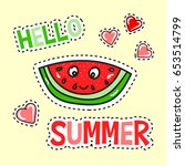 hello summer poster with funny... | Shutterstock .eps vector #653514799