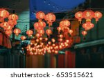 chinese new year lanterns in... | Shutterstock . vector #653515621