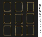 art deco gold frames and... | Shutterstock .eps vector #653517031