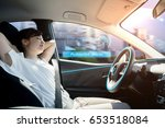 sleeping woman in autonomous... | Shutterstock . vector #653518084