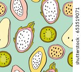 summer print with pear  papaya  ...   Shutterstock .eps vector #653519071