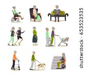 vector set of aged people... | Shutterstock .eps vector #653523535